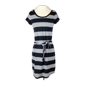 Banana Republic Dress Casual Knit Striped Belted